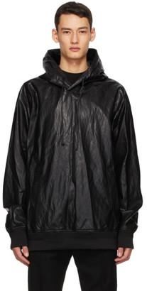 Juun.J Black Faux-Leather Hoodie