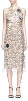 Calvin Klein Translucent plastic overlay floral print dress
