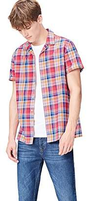 find. Men's Shirt in Madras Check and Resort Collar Button Front,Large