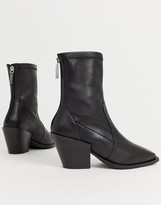 Office Ashen black leather mid heeled ankle boots