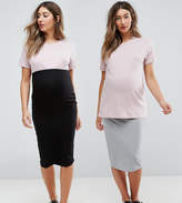Asos Over The Bump Midi Skirt 2 Pack