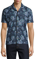 Burberry Peony Short-Sleeve Pajama-Style Shirt, Blue