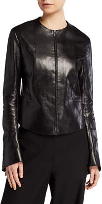 The Row Saori Bell-Sleeve Leather Moto Jacket