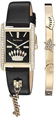 Juicy Couture Black Label Women's Swarovski Crystal Accented Gold-Tone and Black Leather Strap Watch and Bracelet Set