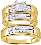 Jewel Zone US Natural Diamond Engagement and Wedding Trio Band Ring Set In 10K Solid Gold Over Sterling Silver (0.5 Ct)