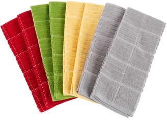 Lavish Home Set of 8 Checked Weave Cotton Kitchen Towels