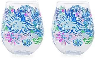 Lilly Pulitzer Lion Around Two-Piece Wine Glass Set