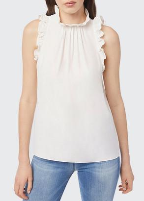Frame Flounce Sleeveless Silk Top