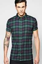 Boohoo Short Sleeve Check Shirt green