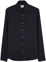 J.lindeberg Daniel Navy Herringbone Cotton Shirt