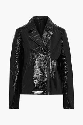 J Brand Aimee Crinkled Patent-leather Biker Jacket