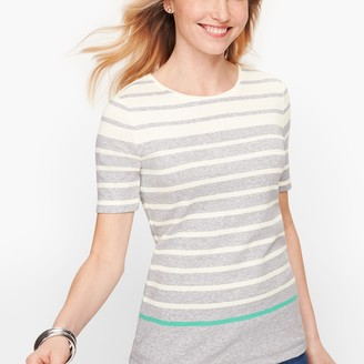 Talbots Cotton Crewneck Tee - Stripe