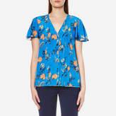 Diane von Furstenberg Women's Flutter Sleeve Blouse Silese Tile Blue