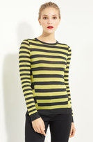Stripe Silk Crewneck Top