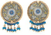 Rosantica Sicilia Beaded Tile Clip Earrings - Womens - Blue Multi