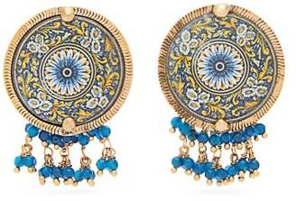 Rosantica Sicilia Beaded Tile Clip Earrings - Blue Multi