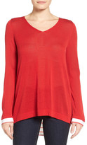 NYDJ Cutaway Back Layer Look Sweater (Petite)