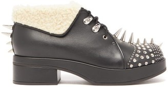 Gucci Shearling-trimmed Spiked Leather Boots - Black Silver