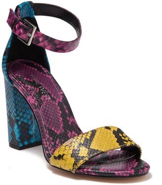 Nine West Abrah Snake Embossed Block Heel Sandal