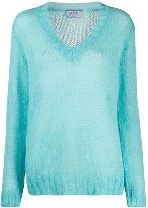 Prada V-neck ribbed knit pullover