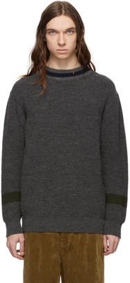 Comme des Garçons Homme Grey and Navy Wool Crewneck Sweater