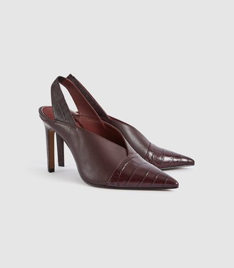 Reiss ANGELICA LEATHER SLING BACK HEELS Pomegranate