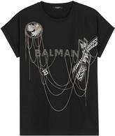 Balmain Black chain-embellished cotton T-shirt