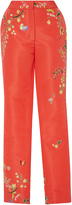 Monique Lhuillier Embroidered Straight Leg Trousers