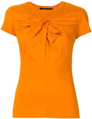 Paule Ka draped bow-embellished T-shirt
