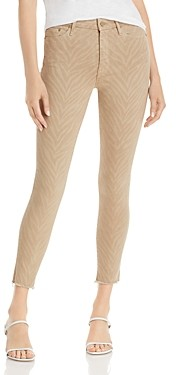 Mother The Looker Printed Skinny Ankle Jeans in Sweet Stripes