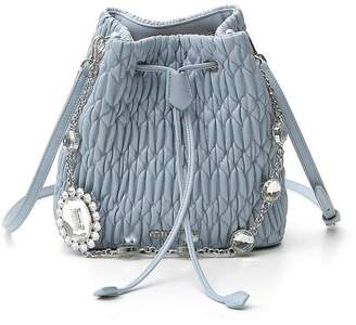 Miu Miu Matelasse Embellished Chain Bucket Bag