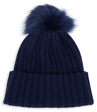 Saks Fifth Avenue Faux Fur Pom-Pom Ribbed Cashmere Beanie