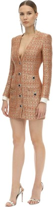 Alessandra Rich V Neck Tweed Mini Dress W/Micro Sequins