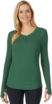 Cuddl Duds Women's Softwear with Stretch Ribbed Long Sleeve Henley Top