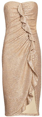 Jonathan Simkhai Strapless Sequin Midi Dress
