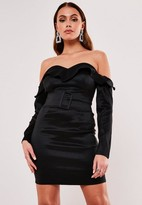 Missguided Taffeta Bardot Ruffle Belted Mini Dress