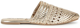 Sam Edelman Natalya Gold Woven Leather Mules