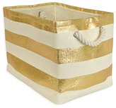 DII Woven Paper Textured Storage Basket, Collapsible & Convenient Storage Solution for Office, Bedroom, Closet, Toys, Laundry - Small, Gold Stripe