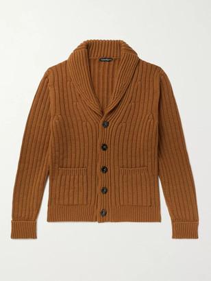 Tom Ford Shawl-Collar Ribbed Cashmere Cardigan - Men - Brown