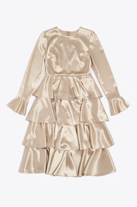 Franks London - Claire Satin Ruffle Midi Dress - Cream / M
