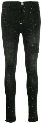 Philipp Plein Crystal denim leggings