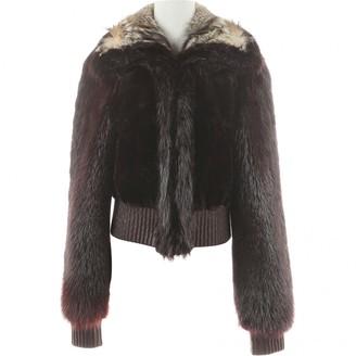 Saint Laurent Brown Leather Coat for Women