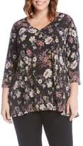 Karen Kane Plus Size Women's Floral Swing Top