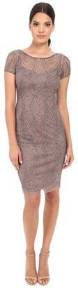 Adrianna Papell Women's Fully Beaded Cocktail Dress with Illusion Neckline