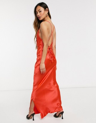 ASOS DESIGN cami maxi slip dress in high shine satin with lace up back in hot red