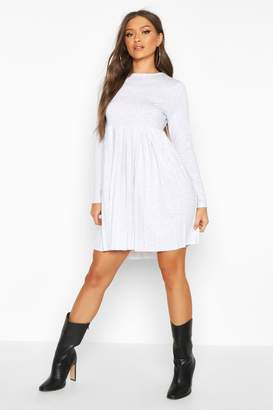 boohoo Long Sleeve Pleated Smock Dress