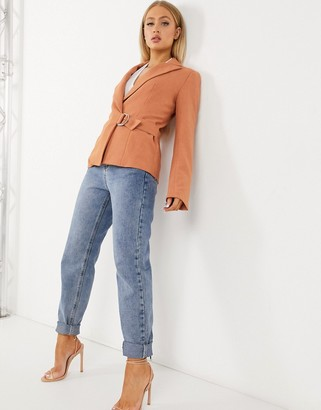 4th + Reckless suit blazer with side buckle in soft coral