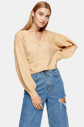 Topshop Womens Camel Balloon Sleeve Cropped Knitted Cardigan - Camel