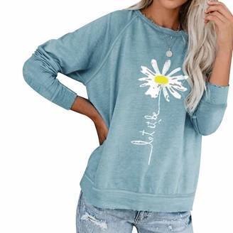 Dresswel Women Let It Be Daisy Sweatshirt Crew Neck Long Sleeve Pullover Tops Jumpers Blouse Shirt Light Blue