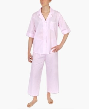 Miss Elaine Petite Striped Cotton Capri Pajama Set